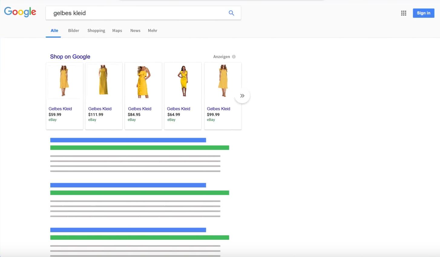 Google Shopping Suchergebnisse